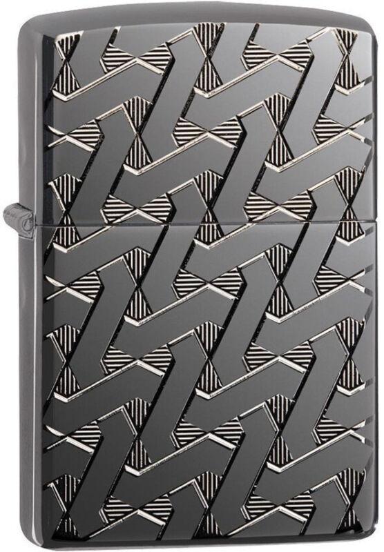Zippo Lighter Armor Geometric Weave High Polish Black Ice Made In The USA 14415