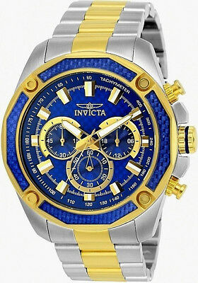 INVICTA AVIATOR 25975 Blue Face w/Gold Accent Stainles Steel Carbon Fiber Watch!