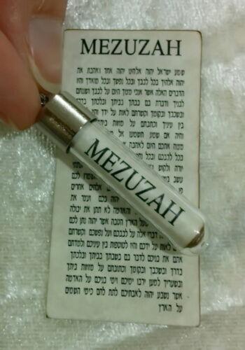 Jewish Mezuzah Pendant Necklace 24K Gold Plate +Scroll Parchment Hebrew Blessing