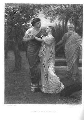 GREEK WOMAN ROMANCE RARE William Shakespeare Antique Art Print Vintage 1800s