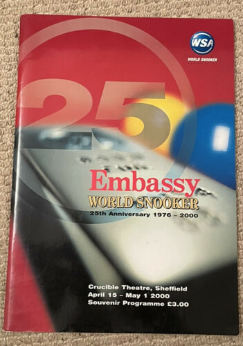 Embassy 2000 25th World Snooker Championship Programme In Good Cond See Photos.