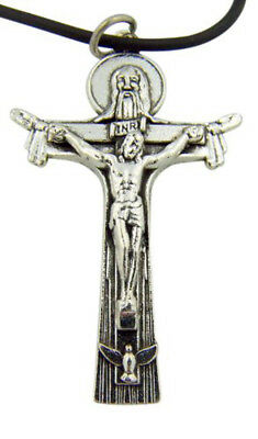 Holy Trinity Cross Crucifix Pendant with Black Rubber Cord Necklace, 2 Inch