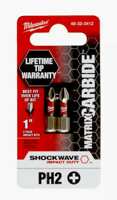 5 Packs Of Milwaukee 1 Matrix Carbide Impact Ph2 2 Pack-lifetime Guarantee