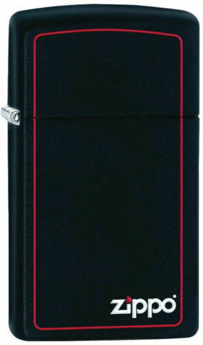 Zippo 1618ZB Slim Black Matte Windproof Lighter w/ Zippo Logo & Red Border