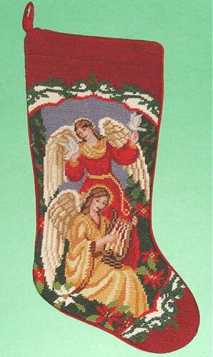 Sferra Needlepoint Christmas Stocking Angels - Mom Handmade New