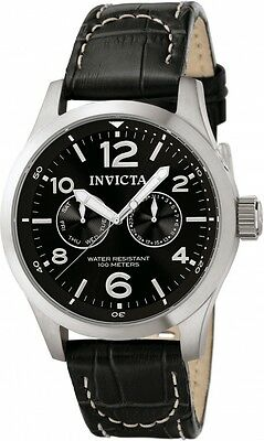 Invicta 48Mm Mens Collection Day Black Leather Strap Watch 0764