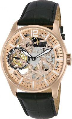 New Mens Invicta 12407 Vintage Mechanical Rose Gold Skeleton Dial Watch