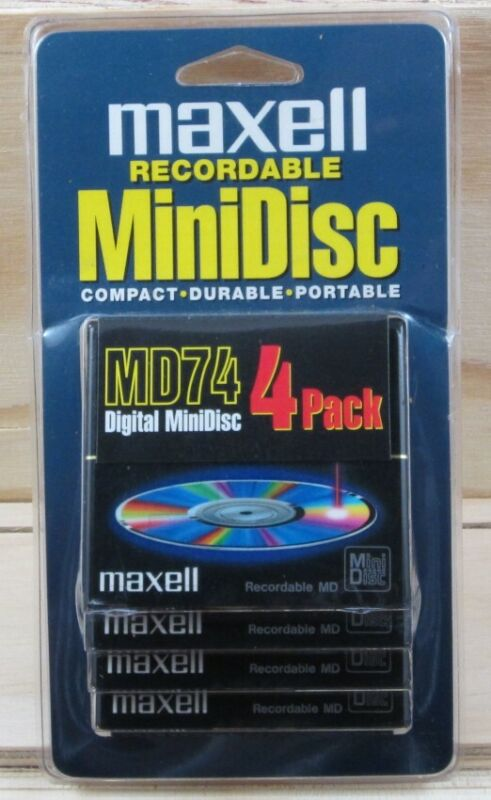 NEW Maxell MiniDisc Recordable 4 pack - MD74 74 min MD-74RM