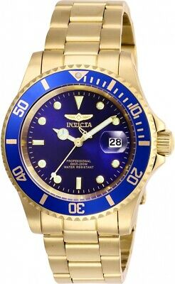 Invicta Pro Diver Blue Dial Mens Blue Dial Gold-Tone Stainless Steel Watch 26974