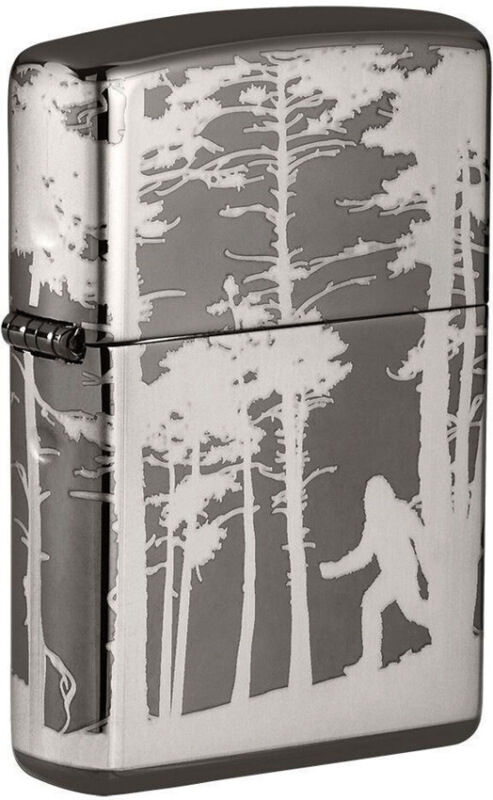 Zippo Lighter Squatchin In The Woods Design Black Ice Made In The USA 16567
