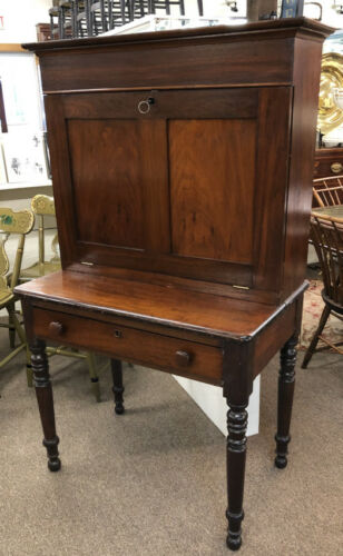 Antique Early NE American country store drop front paymasters desk c1840-1860