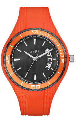 GUESS W95143G5 Fin Men's Watch Silicone Band Orange