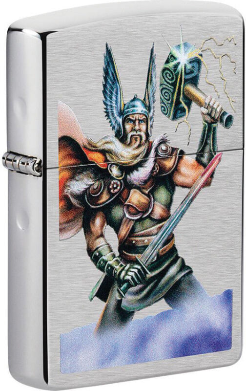 Zippo Lighter Thor Holding A Hammer Design Brushed Chrome Made In The USA 16606