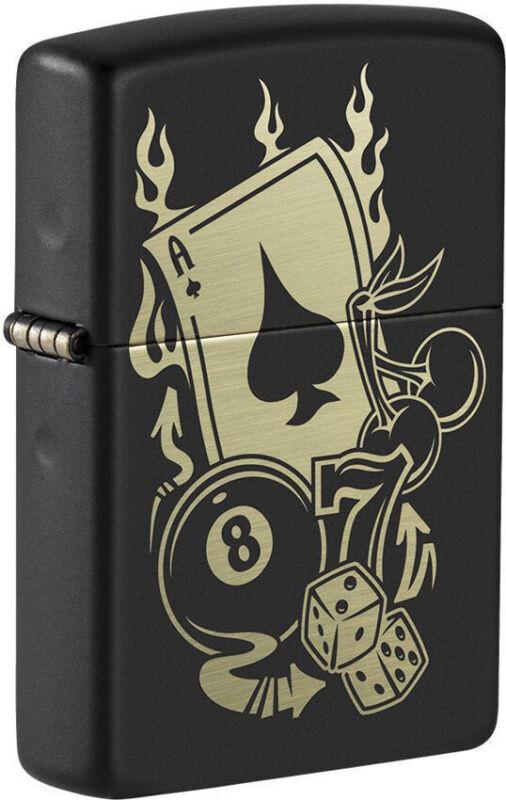 Zippo Lighter Gambling Design Black Matte Made In The USA 16628