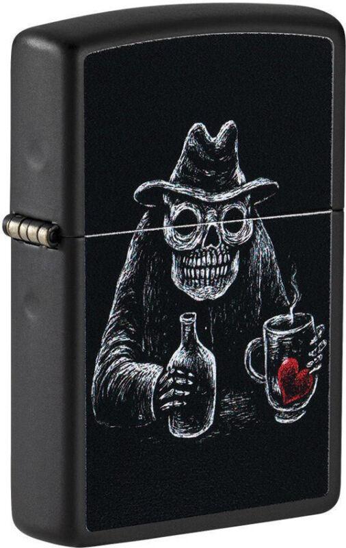 Zippo Lighter Bar Skull Design Black Matte Made In The USA 16610