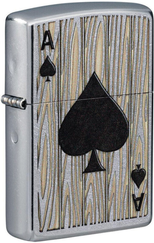 Zippo Lighter Ace of Spades Design Street Chrome Made In The USA 16604