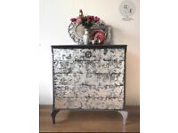 Dark grey and silver chest of drawers