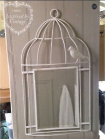 Next Inspired By Vintage Bird Cage Wall Mirror Shabby Chic Rrp £35 New Boxed