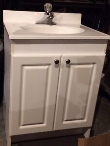 White cabinet- sink, faucet included