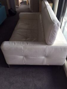 2seater white real leather sofa Mentone Kingston Area Preview