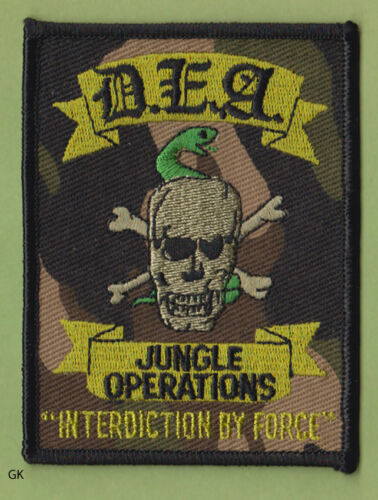 DEA JUNGLE OPERATIONS  DRUG ENFORCEMENT  POLICE SHOULDER  PATCH  (Camo)