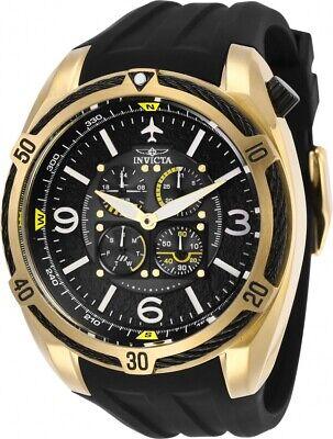 Invicta 28079 Aviator Men's Chronograph 50mm Gold-Tone Black Rubber Watch
