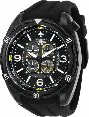Invicta 28078 Aviator Men's Chronograph 50mm Gunmetal Black Rubber Watch