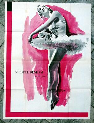 1950 1960 Vintage BALLET RUSSE de MONTE CARLO Ballerina Poster ALEXANDRA DANILOV