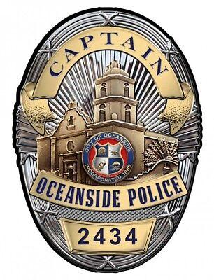 Oceanside, CA.  POLICE Dept. (Captain) BADGE All Metal Sign (With Badge Number)