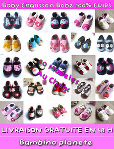 Chausson-Chaussure-Bebe-Cuir-souple-FILLE-GARCON-TRES-BONNE-QUALITE-NEUF-1e-PAS