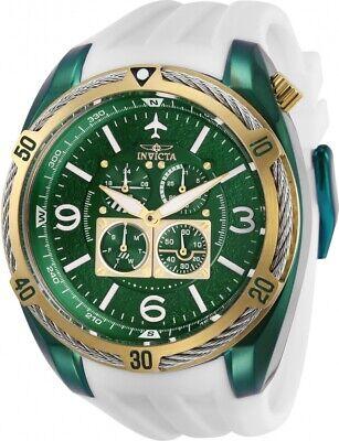 Invicta 28082 Aviator Men's Chronograph 50mm Green-Tone White Rubber Watch