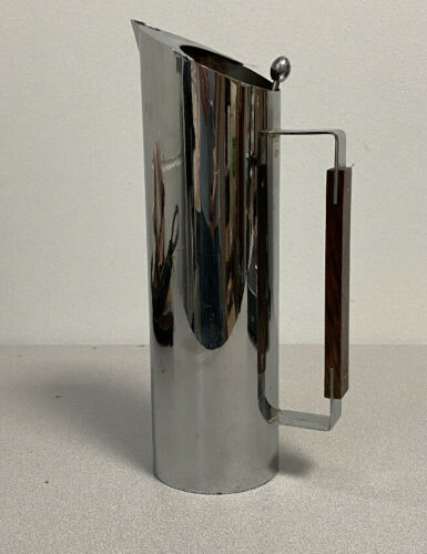 Mid Century Modern cocktail mixer with stirrer chrome over brass Rosewood handle