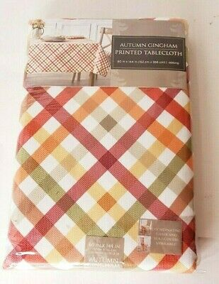 """Autumn Gingham Tablecloth 60"""" X 144"""" Oblong Orange Green Red Plaid"""