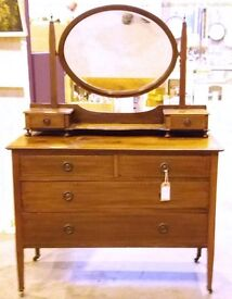 Antique Edwardian Mahogany Dressing Table Chest With Drawers And Mirror
