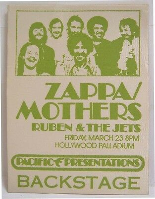 FRANK ZAPPA & THE MOTHERS - VINTAGE ORIGINAL 1970's BACKSTAGE PASS  **LAST ONE**