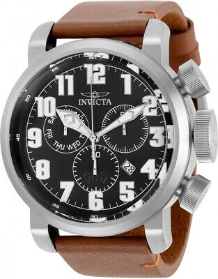 Invicta Men's 31681 Aviator Quartz 3 Hand Black Dial Watch