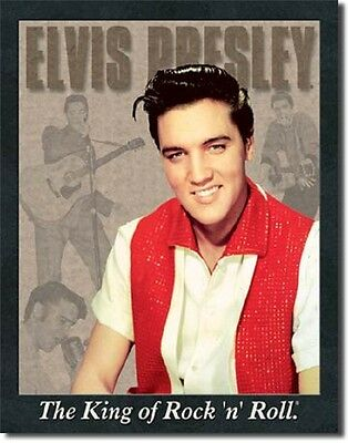 Elvis Presley Portrait King Of Rock And Roll TIN SIGN Metal Poster Wall Decor](Rock And Roll Wall Decor)