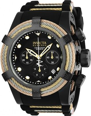 23054 Invicta Reserve Swiss Quartz Bolt Zeus TriCable 52mm Silicone Strap Watch
