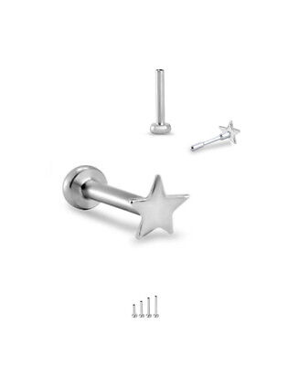 14KT Solid White Gold Titanium Labret Style Nose Stud Ring Monroe 3mm Star 18G
