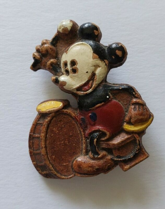 Vintage 1930s Syroco Pin Brooch Disney Mickey Mouse Drums Composite Wood