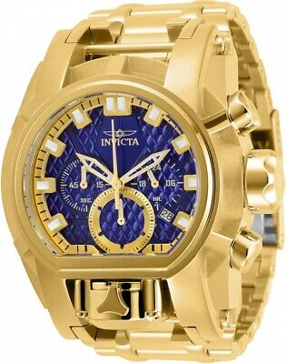 Invicta Men 52mm Bolt Zeus Magnum Chronograph Blue Dial 18Kt Gold Bracelet Watch