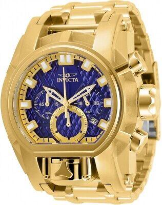 Invicta Men 52mm Bolt Zeus Magnum Chronograph Blue Dial 18Kt Gold Bracelet Watch