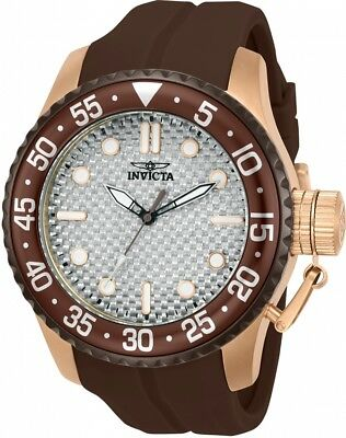 New Mens Invicta 23674 50mm Pro Diver Medusa Brown Silicone Strap Watch