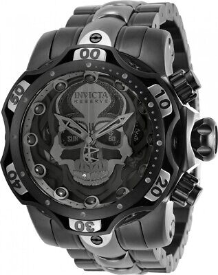 Invicta Reserve Men's 52mm Venom GEN III SKULL SWISS Chrono Black 2Tone SS Watch
