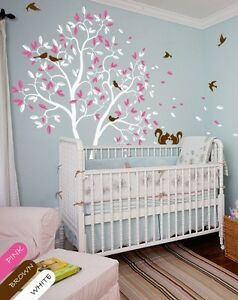 White-tree-wall-decal-pink-leaves-squirrel-nursery-wall-decal-kids-room-KR050