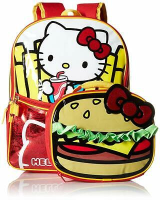 Hello Kitty Girls Burger and Fries 16 Inch School Backpack with Lunch Bag