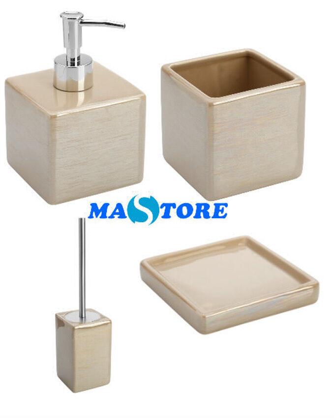 accessori bagno da appoggio in ceramica acciaio beige kit 4pezzi ... - Kit Arredo Bagno