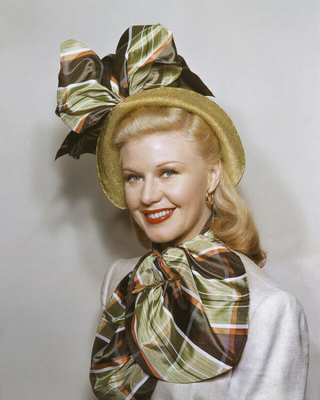 GINGER ROGERS SATIN SCARF MATCHING HAT SMILING PORTRAIT 8X10 PHOTO