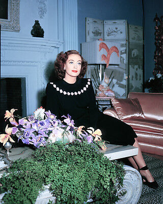 Joan Crawford Rare Color At Home By Fireplace 1940S 8X10 Photo