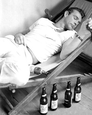 Dr  No James Bond Sean Connery Relaxing On Set By Beer Bottles 16X20 Poster